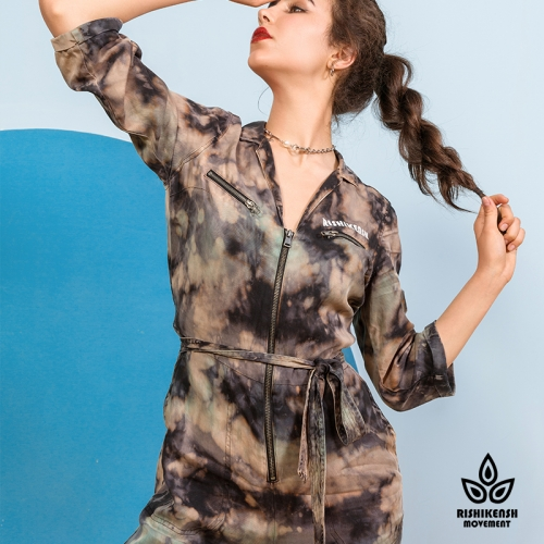 Camouflage-Styled Tie-Dye Jumpsuit with Belt at Waist