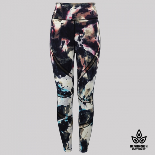 Graffiti Tie-Dye Leggings with Mesh Inserts on Legs