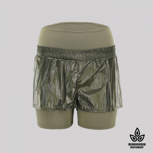 shiny Olive Lightweight Sporty Shorts with Elasticated Waist
