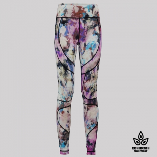 Light Graffiti Tie-Dye Leggings with Mesh Inserts on Legs