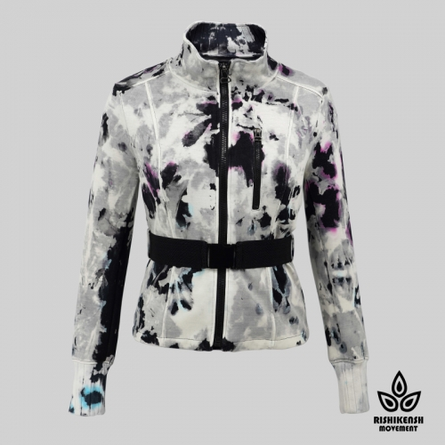 Tie-Dye Soft Zipper Jacket with Adjustable Waistband