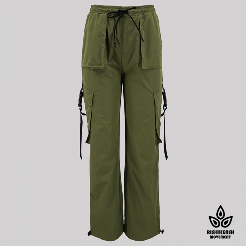 Straight Leg Drawstring Trousers with Fuctional Pockets in Army Green