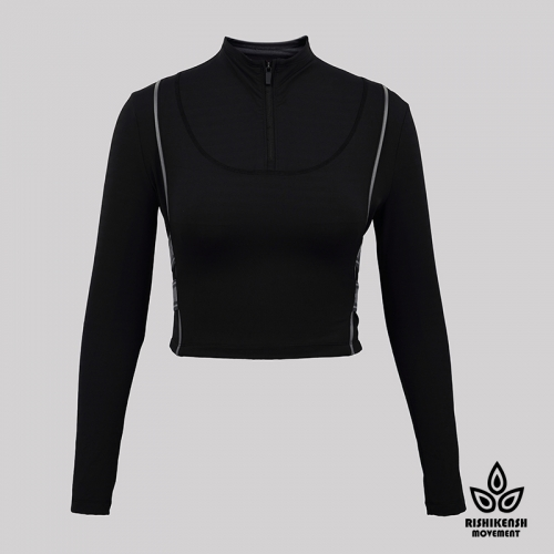 Power Stretchy Long-Sleeve Top with Contrast Color Details