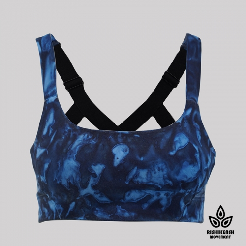 Magic Paint Soft Tie Dye Bra with Elasticated Shoulder Straps in Blue