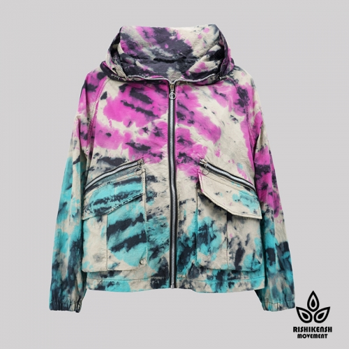 Light Graffiti Tie-Dye Long-Sleeve Jacket with Functional Pockets and A Hood