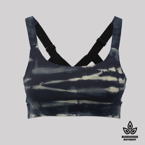 Magic Paint Soft Tie Dye Bra with Adjustable Shoulder Straps in Black