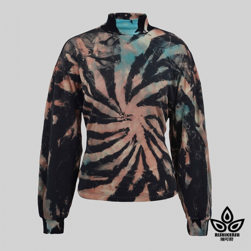 Turtle Neck Long-Sleeve Sprial Tie-dye and Discharged Top