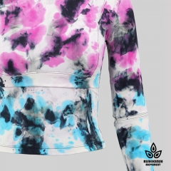 Graffiti Tie-Dye Stretchy Round-Neck Top with Cut at Elbows